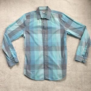 Express men's plaid fitted button up